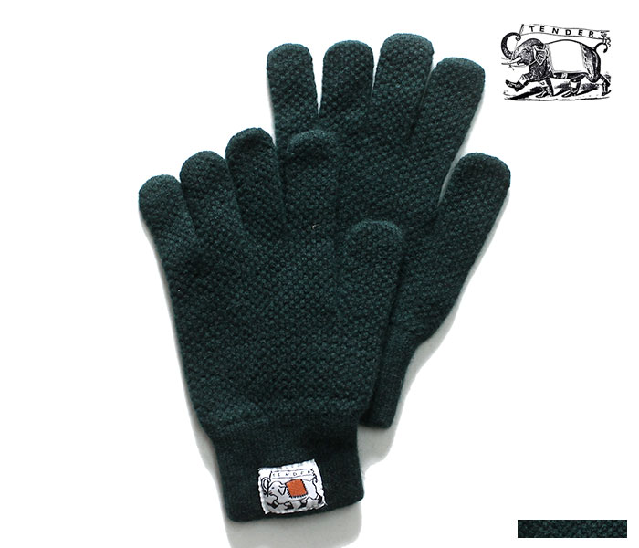 テンダー TENDER Co. 英国製 BOTTLE GREEN LAMBSWOOL ムーア グローブ プレーンステッチ ニット 手袋 TYPE 888 MOOR GLOVES PLAIN STITCH (888-GLOVES-BOTTLE-GREEN)
