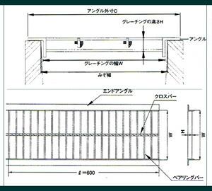 U字溝用 グレーチング 溝蓋(普及型)600mm