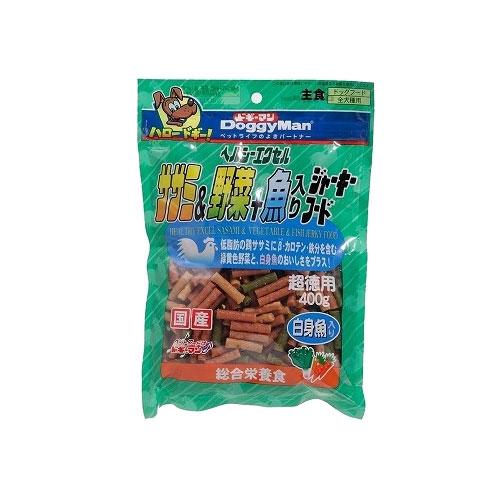 【訳あり】ドッグフード ドギーマン 賞味期限:2018年11月以降ヘルシーエクセル ササミ&野菜+魚ジャーキーフード 超徳用400g (いぬ、犬、イヌ)(おやつ、ジャーキー、ささみ、鶏、白身魚)