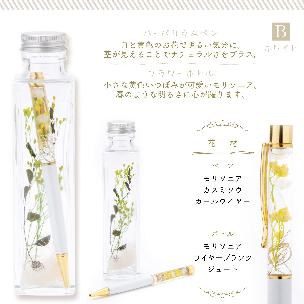 ハーバリウムペンは白と黄色のお花で明るい気分に。茎が見えることでナチュラルさをプラス。フラワーボトルは小さな黄色いつぼみがかわいいモリソニア。春のような明るさに心が踊ります。使用花材は、モリソニア、カールワイヤー、かすみ草、ワイヤープランツ、ジュート