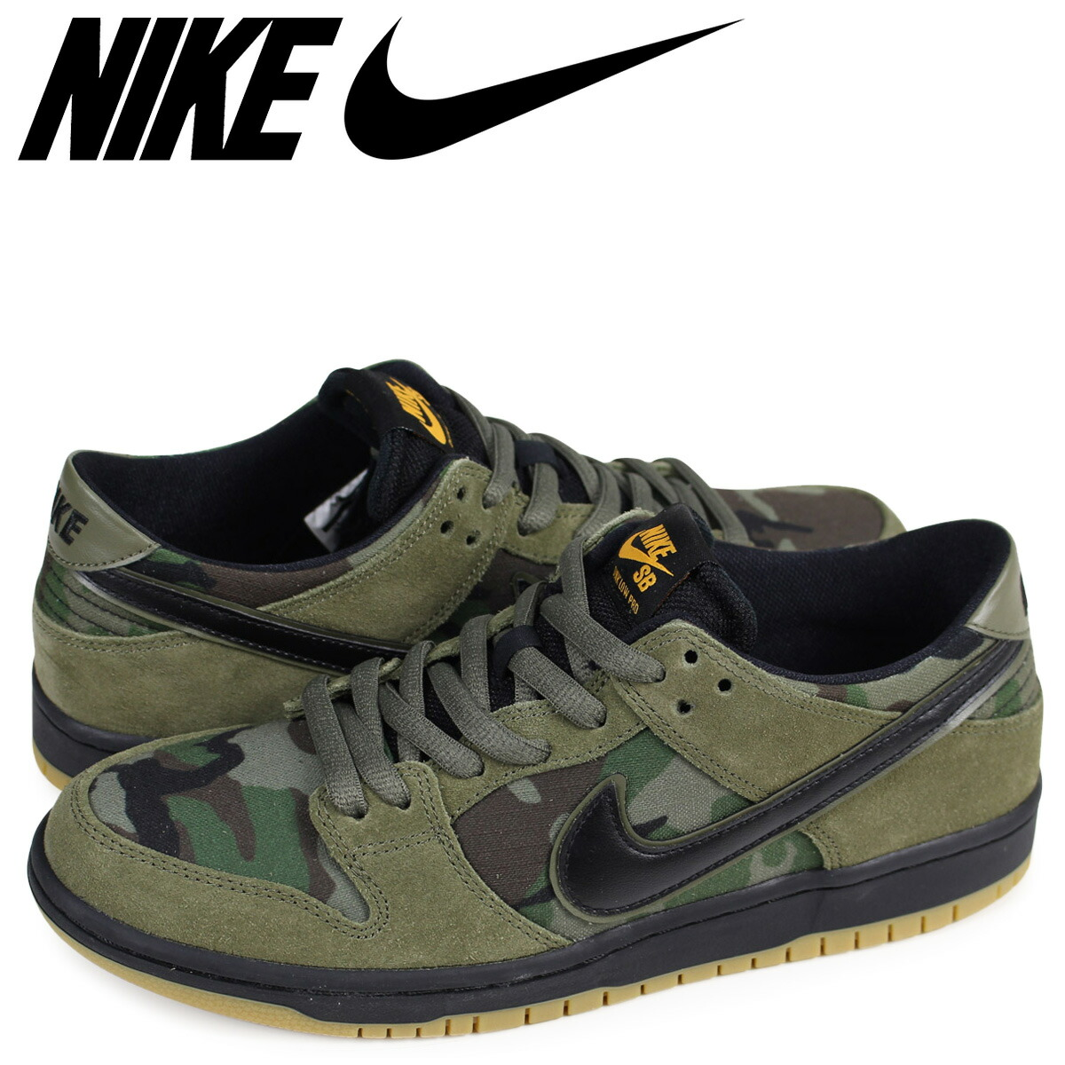 reputable site f54a7 cbeab NIKE ZOOM DUNK LOW PRO Nike SB dunk low sneakers men olive duck camouflage  854,866-209