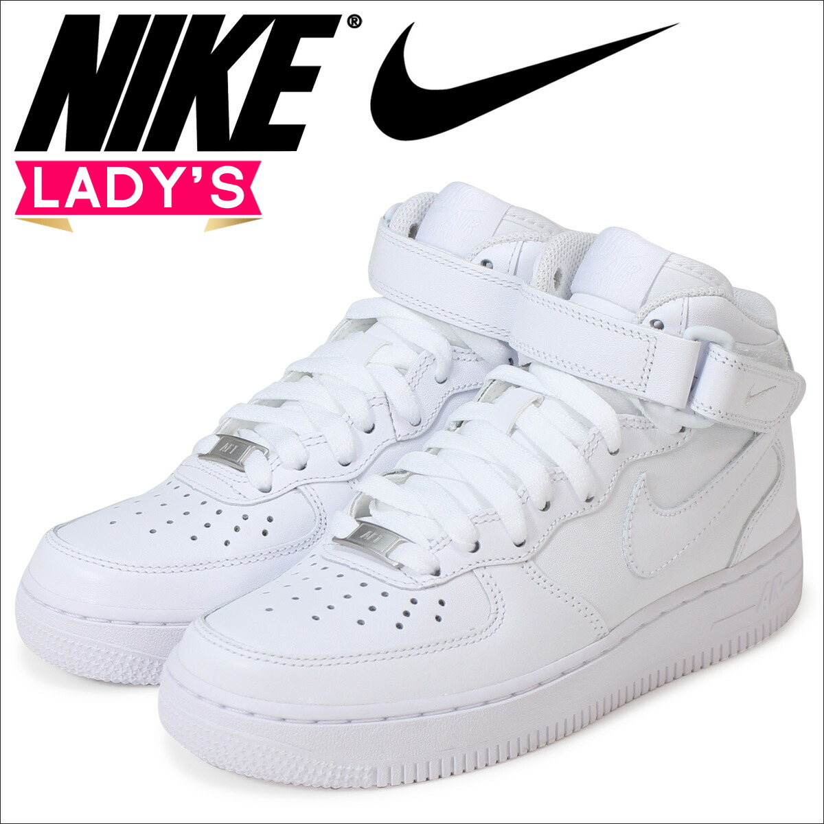 NIKE Nike 366731 WMNS AIR FORCE 1 MID 07 LE women Nike air force 1 mid 07 leather 001:BLACK 100:WHITE sneakers Lady's basketball shoes mid cut
