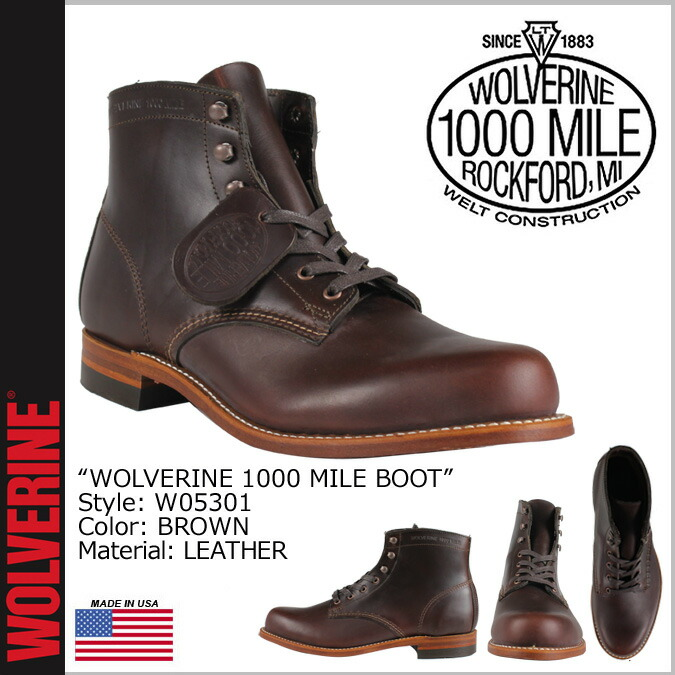 72bd57a1333 Wolverene WOLVERINE 1,000 miles boots 1000MILE BOOT D Wise W05301 brown  work boots men
