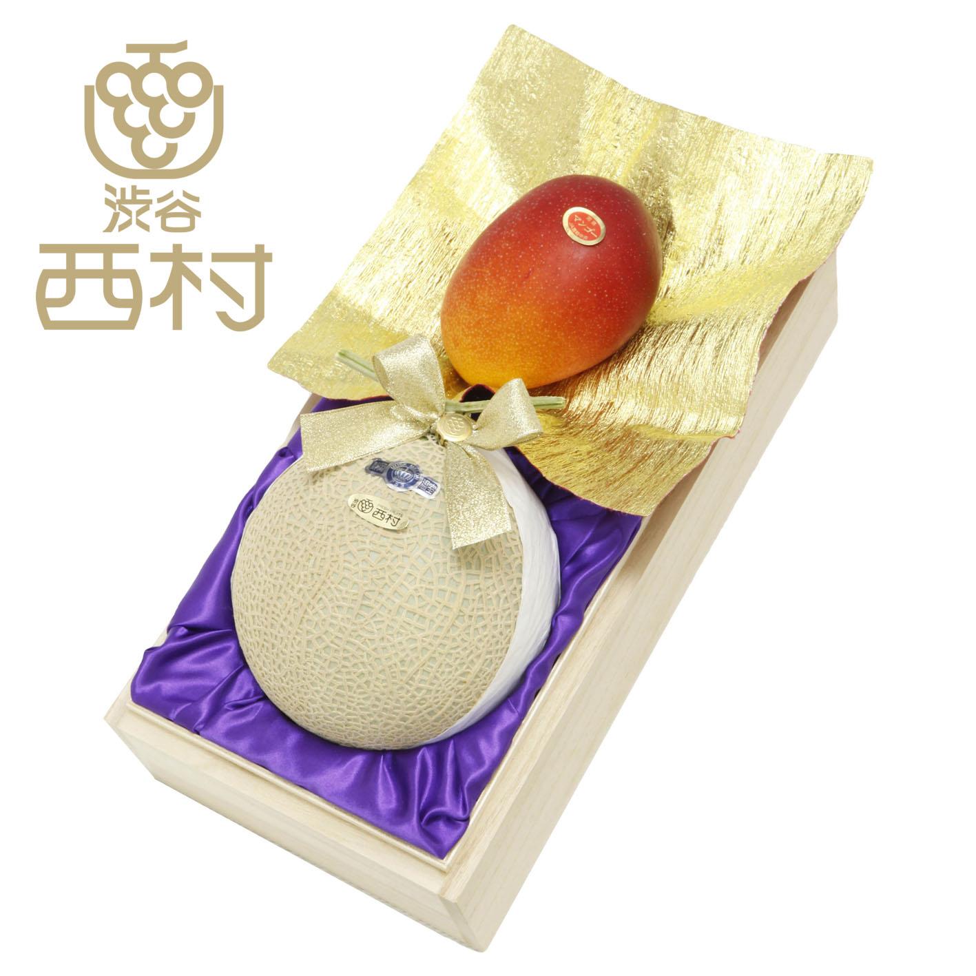 静岡クラウンマスクメロン&完熟宮崎マンゴー(桐箱)