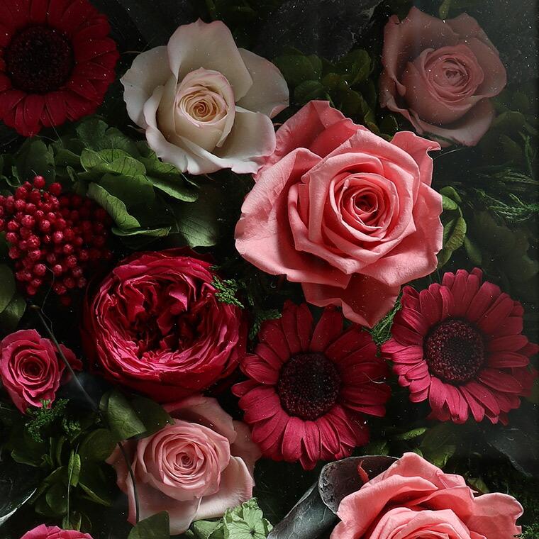 バラとガーベラのプリザーブドフラワーフラワーフレームアート