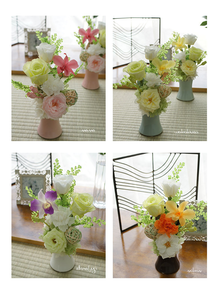 プリザーブドフラワーのお供え花。ブリザーブド 仏花。 あなたを想って
