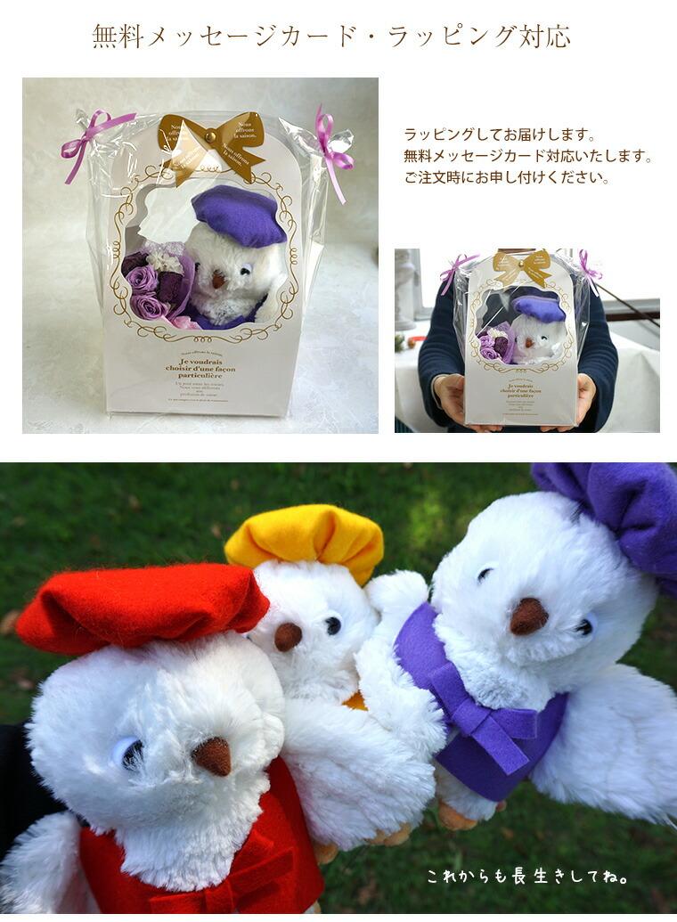 ふくろう ぬいぐるみ 還暦祝いの赤、古希・喜寿・卒寿の紫、米寿・傘寿の黄色の3色 プリザーブドフラワー ミニ ブーケ付