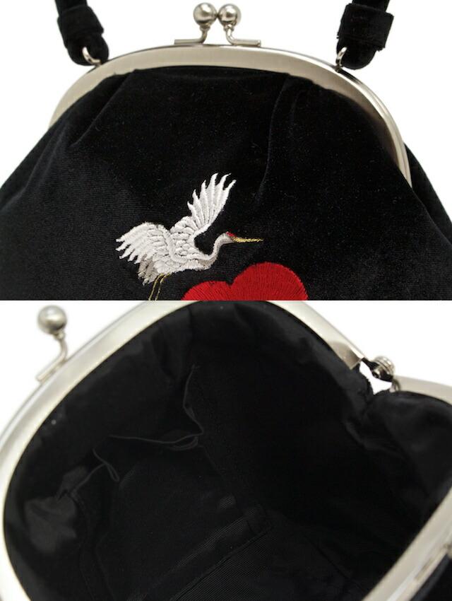 着物や和装での小物入れに便利なフロッキーバッグ