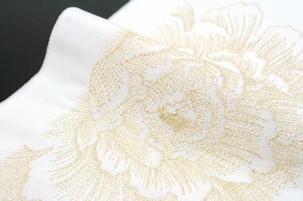 刺繍半襟,白,金,牡丹,正絹,日本製,結婚式,着物,刺繍半衿