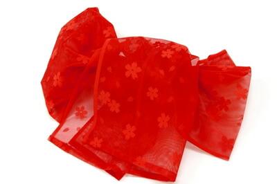 赤桜兵児帯