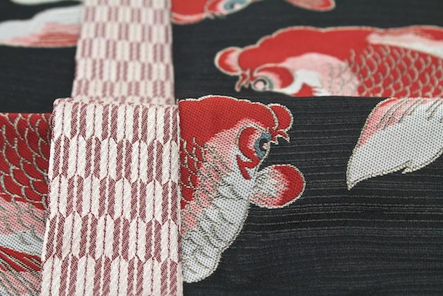 半幅帯 ブランド ひさかたろまん 黒 赤 金魚 矢羽根 日本製