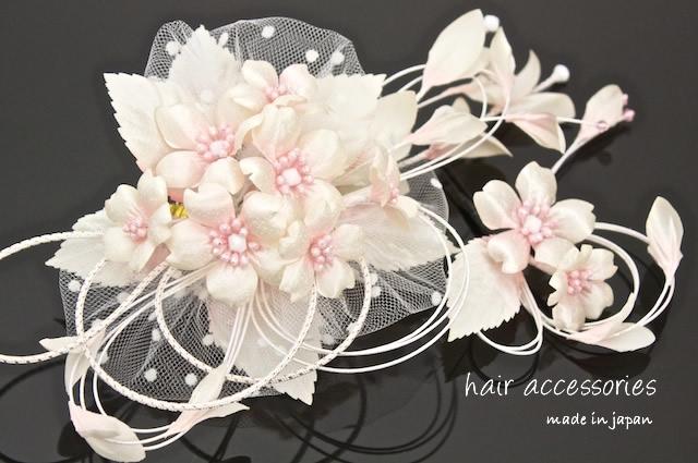 ピンク×アイボリー 髪飾り