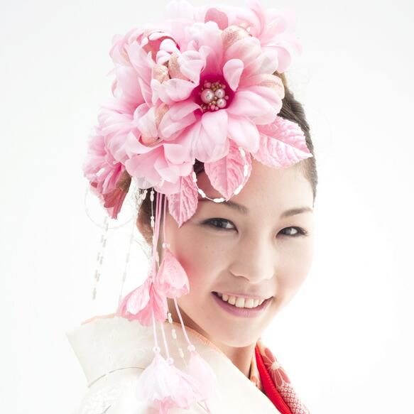 ピンク系,大きな髪飾り2点セット