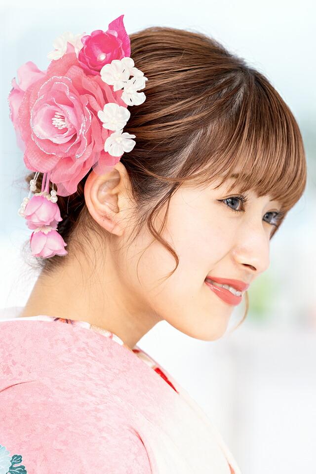 成人式の振袖にぴったりなお花の髪飾りセット