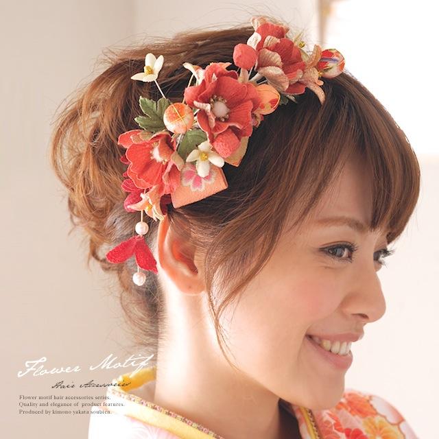 縮緬地を贅沢に使用した髪飾り3点セット