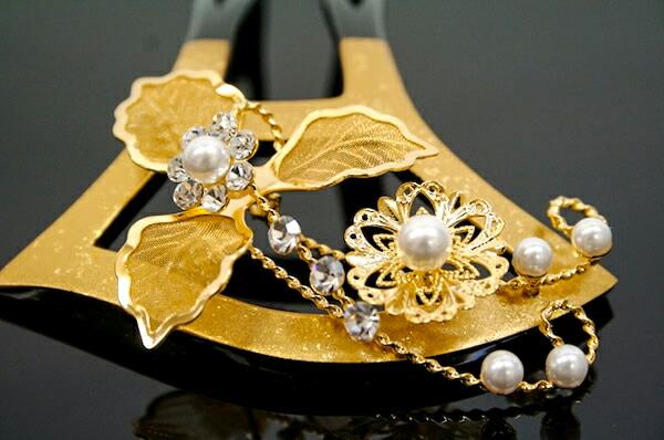 かんざしバチ型簪結婚式留袖訪問着着物婚礼黒金お花フォーマルヘア