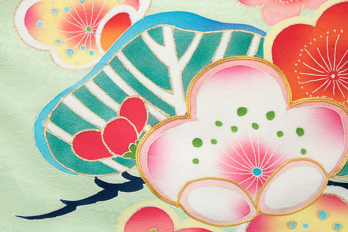 伝統的な和柄が華やかな正絹の高級初着(産着)
