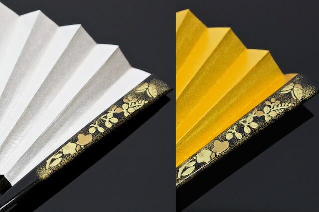 金・銀色,和服の着こなしに,扇子(せんす)