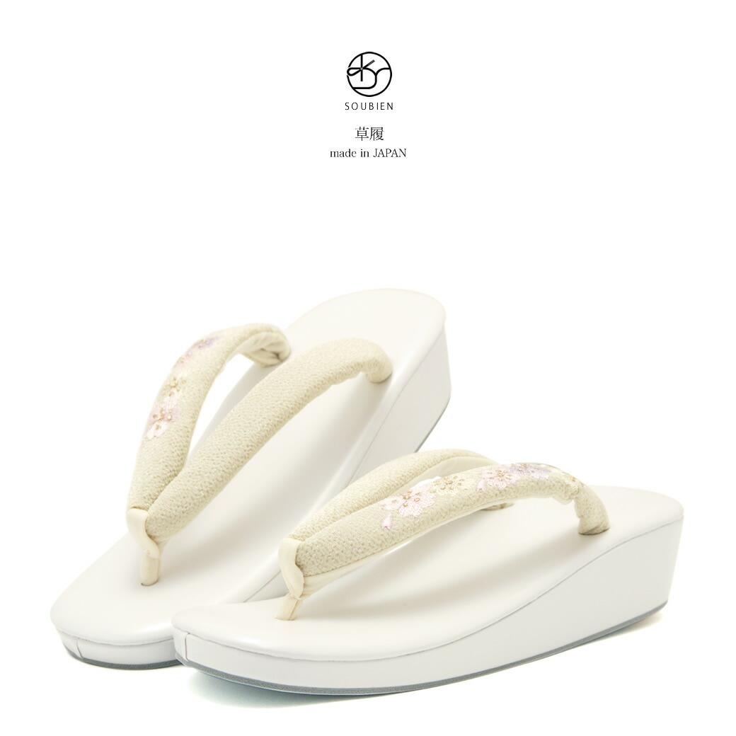 パールホワイト×クリーム 草履