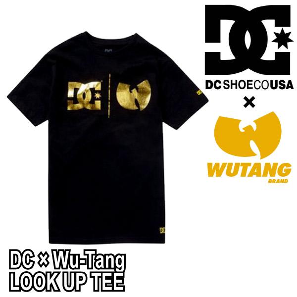 ディーシーシューズ DC SHOES × WU-TANG CLAN ウータンクラン コラボ ゴールド箔プリント ロゴ 半袖 Uネック Tシャツ LOOK UP TEE  メンズ (ZT01597)  【正規品】【メール便発送可(1点のみ)】