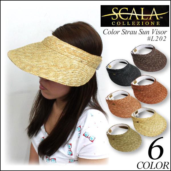 セール %OFF 送料無料 SCALA スカラ Color Strau Sun visor カラフルストロー つば広 サンバイザー ハット レディース (L202)