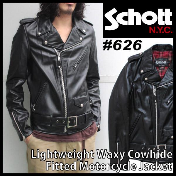 SCHOTT ショット LIGHTWEIGHT WAXY COWHIDE FITTED MOTORCYCLE JACKET カウレザー ライトウェイト ダブル レザー ライダース ジャケット メンズ ( 男性用 ) ( 626 )