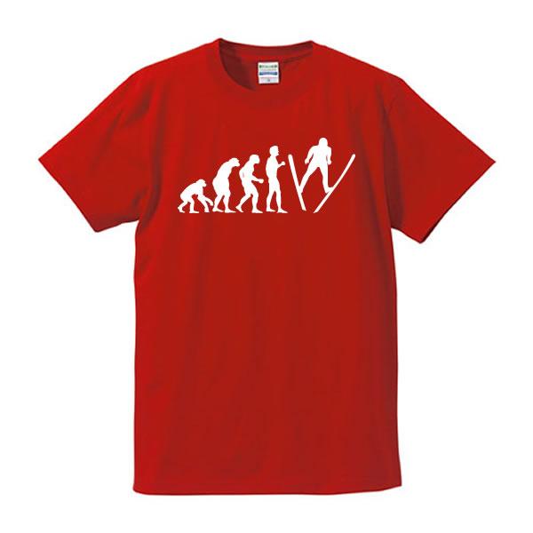 スキージャンプ■人類の進化(EVOLUTION)■面白Tシャツ■ラージヒル、ノーマルヒル、葛西 紀明、高梨沙羅、冬期五輪、平昌オリンピック