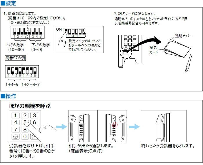 共通線式同時通話インターホン90局用 設定