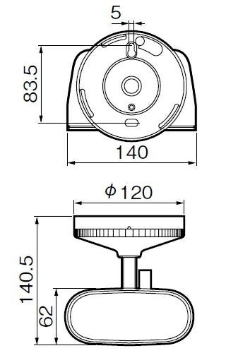 ハイハイ店番 EL810432 エコー方式 検知器 寸法