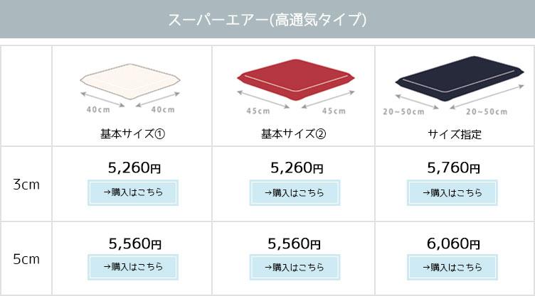 商品・サイズ・価格一覧