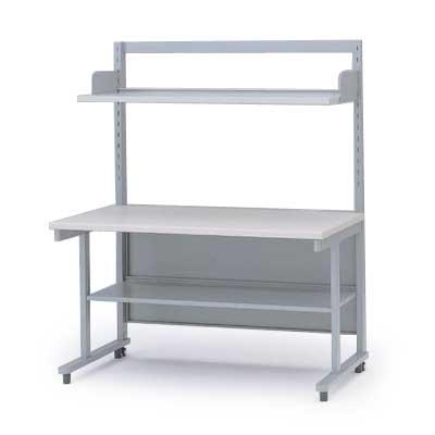 上棚・中棚付OAテーブルW140(H146/棚板奥行D24タイプ)【自社便/開梱・設置付】