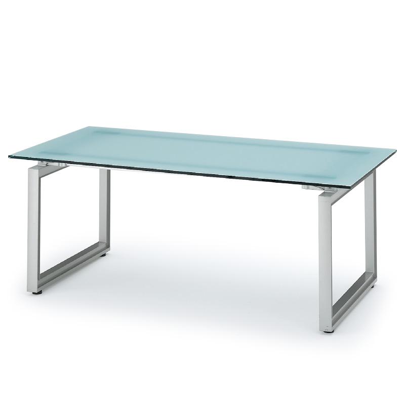 ミーティングテーブル 独立単体型/□字脚ガラス天板タイプ【自社便/開梱・設置付】