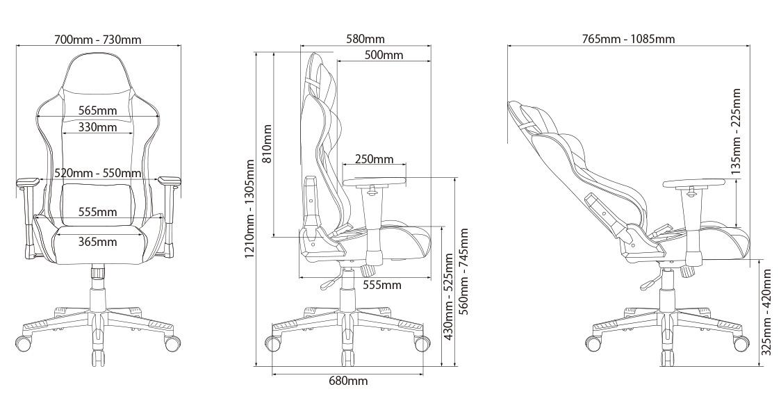 イトーキ オフィスチェア クロスフォーカスチェアa 寸法図