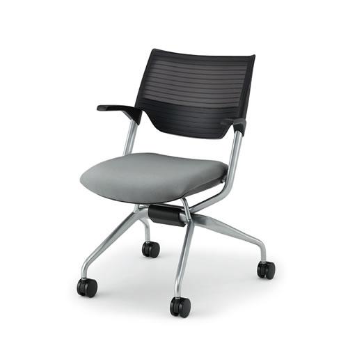 会議椅子 ミーティングチェアー レクシブチェア 肘付 エラストマーバック ネスタブル イトーキ