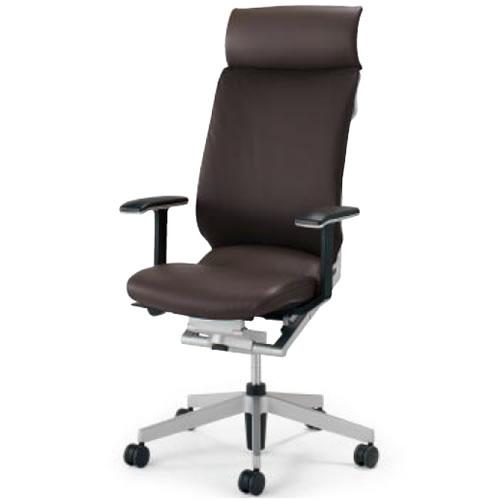 コクヨ アガタ AGATA オフィスチェア ヘッドレスト付き 固定肘 背クッション付 革張り