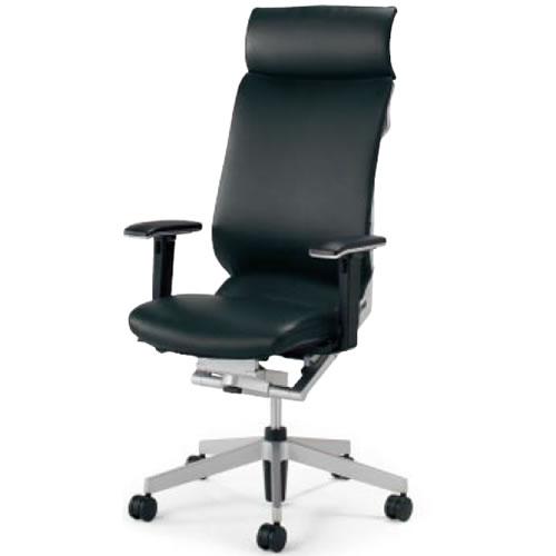 コクヨ アガタ AGATA オフィスチェア ヘッドレスト付き 可動肘 背クッション付 革張り