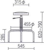 ワーク椅子 作業用チェアー 寸法