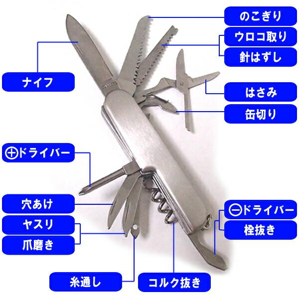 14徳ステンレスツール 防災用品や釣りなどのアウトドアに必携!14徳万能ナイフ