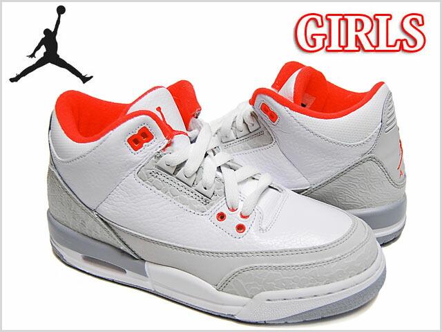 nike girls air jordan 3 retro gs white crimson gray ナイキ レディース ガールズ ウィメ