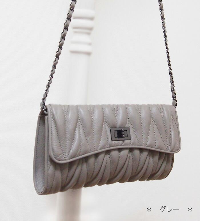 チェーンバッグ 本革 キルティング 斜めがけチェーンバッグ【ミウ】チェーンバッグ好きにおすすめ♪グレー