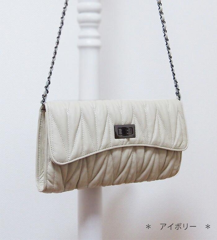 チェーンバッグ 本革 キルティング 斜めがけチェーンバッグ【ミウ】チェーンバッグ好きにおすすめ♪アイボリー 白