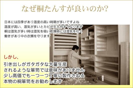 なぜ桐たんすが良いのか? 日本には四季があり湿度の高い時期が多いですよね 湿度が高い、湿気が多いとカビが生えやすくなります 桐は湿気が多いときは湿気を吸い乾燥時には湿気を吐く 働きがあり中の衣料を守ります  しかし、 引き出しがガタガタな大量生産 されるような箪笥では意味がありません 少し高価でも一つ一つ丁寧に製作される 本物の桐箪笥をお勧めします