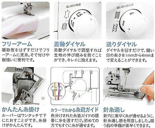 """""""フリーアーム""""補助板をはずすだけでフリーアームに変身。袖付けや裾縫いに便利です。""""差動ダイヤル""""作動ダイヤルで調整すれば生地の伸び縮みを防ぐことができ、キレイに縫えます。""""送りダイヤル""""ダイヤルを回すだけで、縫い目の長さを1mmから4〓まで変えることができます。""""かんたん糸掛け""""ルーパーはワンタッチで下にたおすことができ、糸掛けがかんたんです。""""カラーでわかる糸道ガイド""""色分けされた糸道ガイドの順番に糸を通すだけ。初めての方でもすぐに糸が通せます。""""針糸通し""""針穴に素早く糸が通せるように、針糸通し器を用意しました。縫う前の準備が素早くできます。"""