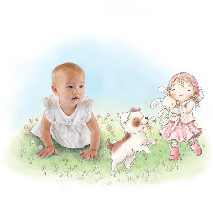Bunnies By The Bay バニーズバイザベイ ブロッサム フリルノースリーブ&ブルマセットアップ☆6-9M/9-12M