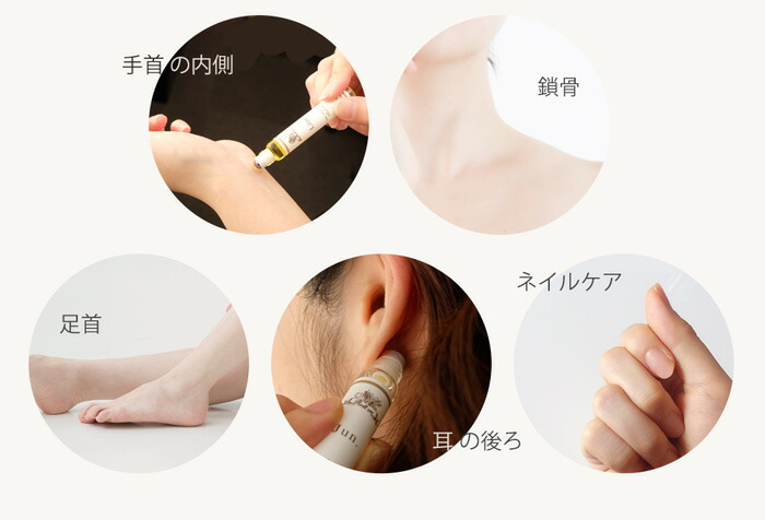 手首の内側・鎖骨・耳の後ろ