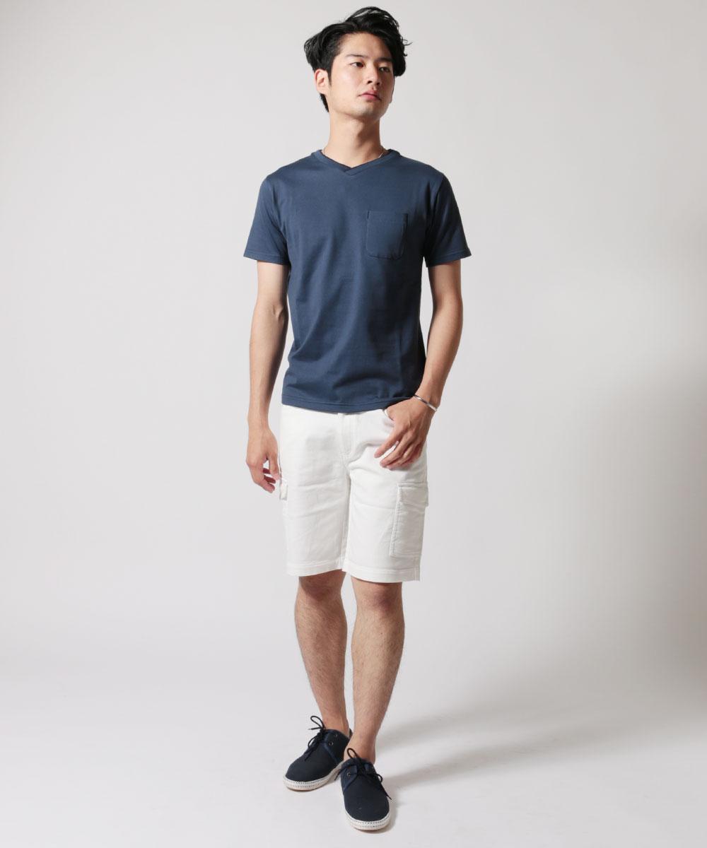 メンズ定番コーマ 天竺 ツートーン Vネック 半袖 Tシャツ