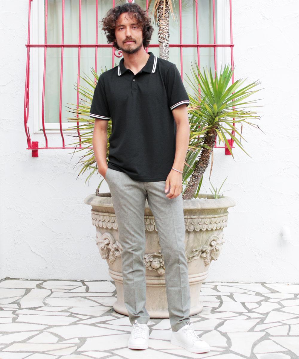 黒メンズポロシャツ