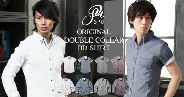 2枚襟デザインオックス半袖シャツ