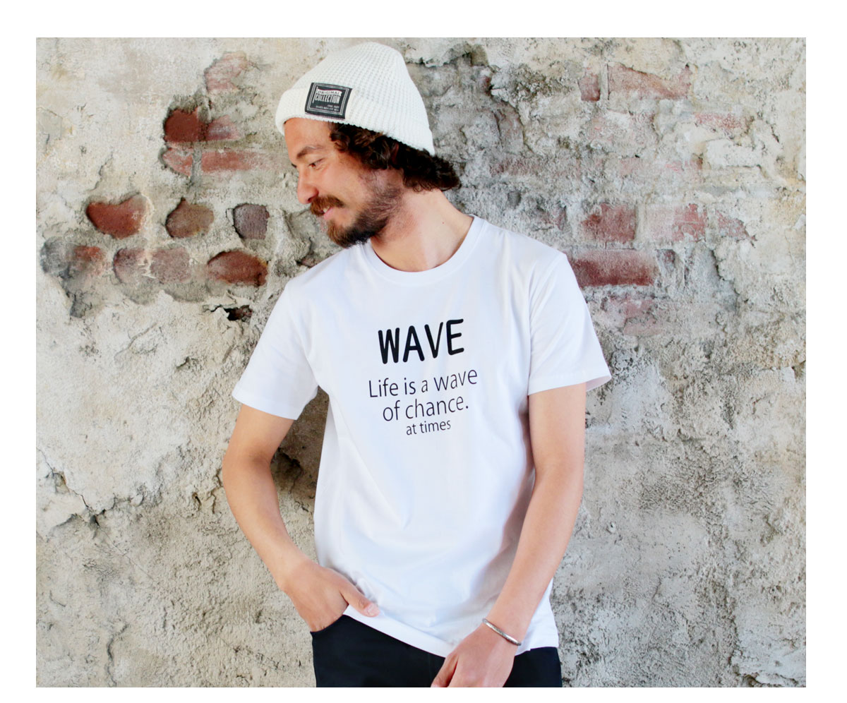 Tシャツ メンズ「WAVE Life is a wave of chance at times」H柄