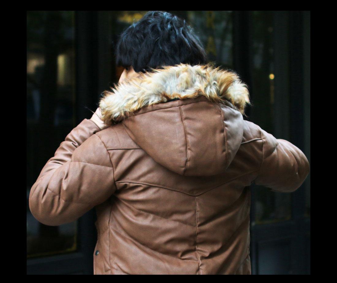 SPU (スプ)WET-PU(R)レザー ダウンミックスメンズジャケット